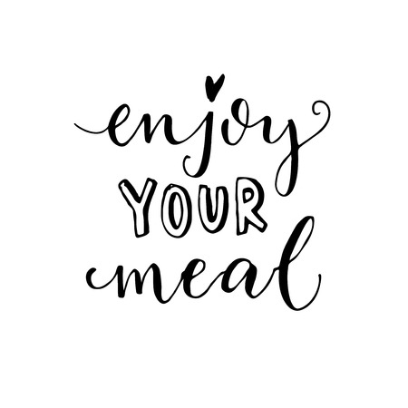 Enjoy your meal. Vector calligraphy for cafe cards and posters.