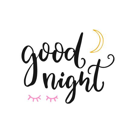 Carta di buona notte con lettere a spazzola, luna e occhi chiusi. Tipografia vettoriale a sfondo bianco. Archivio Fotografico - 83131363