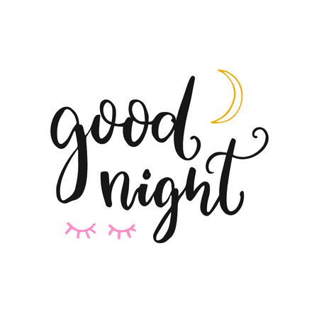 Good night card with brush lettering, moon and closed eyes. Vector typography at white background.