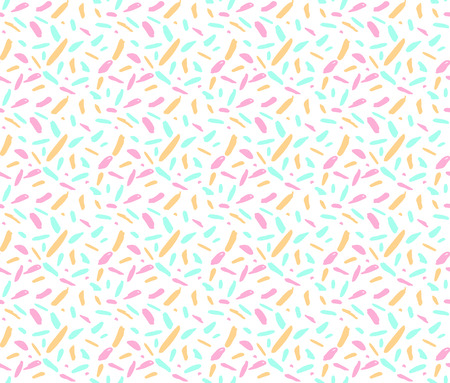 Abstract seamless ditsy pattern with pink, blue and yellow random spots and marks on white background.