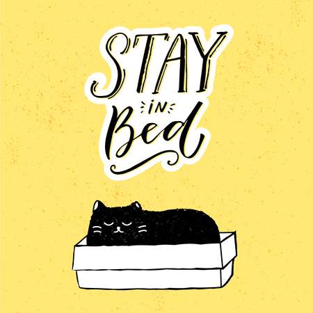 Stay in bed. Funny illustration with black cat sitting in box and hand lettering at yellow background. Illustration