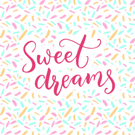 Sweet dreams. Warm wish before sleep. Pink brush calligraphy with ditsy pattern. Illustration