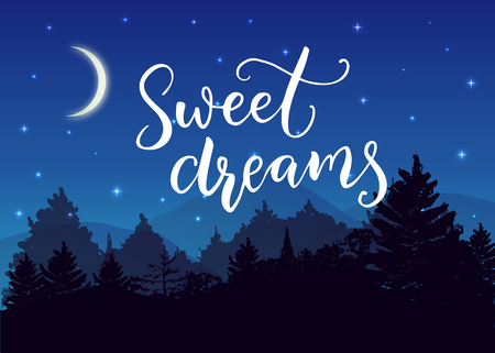 Sweets dreams. Good night wish typography on night landscape with trees silhouettes and blue starry sky and moon.