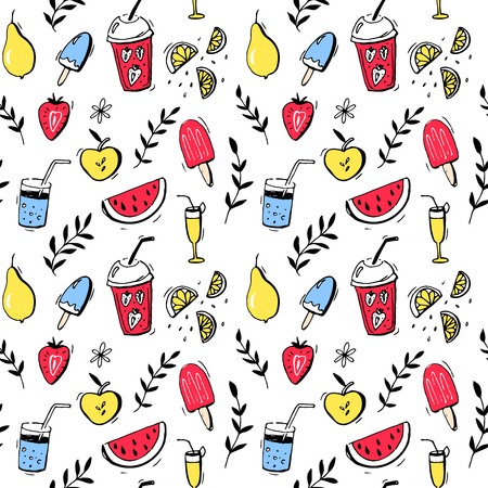 Summer pattern, seamless texture with hand drawn fruits, drinks and ice cream.