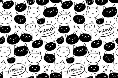 Cat pattern. Seamless background with black and white hand drawn cats and meow word. Cute pet texture