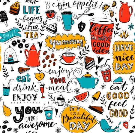Padrão de café com doodle bules de chá, copos, citações inspiradoras e sobremesas. Café é sempre uma boa ideia. Coma bem, sinta-se bem. Desfrute de sua refeição. Textura sem costura para o design do menu. Ilustración de vector