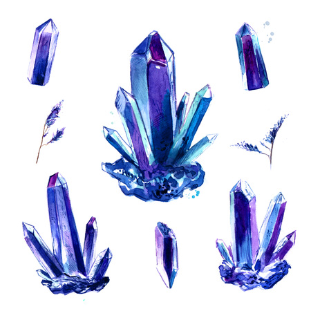 Amethyst crystal set. Watercolor tattoo design. Bright painted purple and turquoise gemstones in clusters and single isolated on white background.