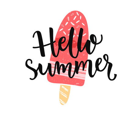 Hello summer banner with modern calligaphy caption and hand drawn ice cream on the stick Illustration