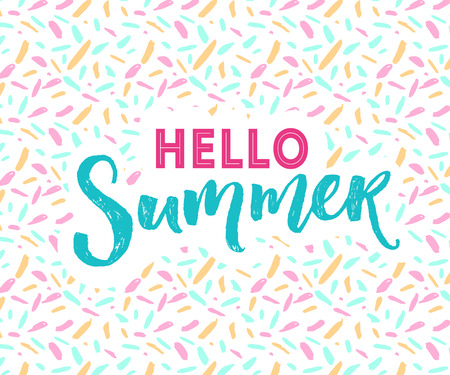 Hello summer banner with hand lettering at modern mottle texture