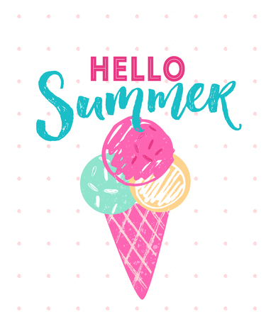 Hello summer caption with 3 balls of ice cream in cone. Vector hand drawn illustration