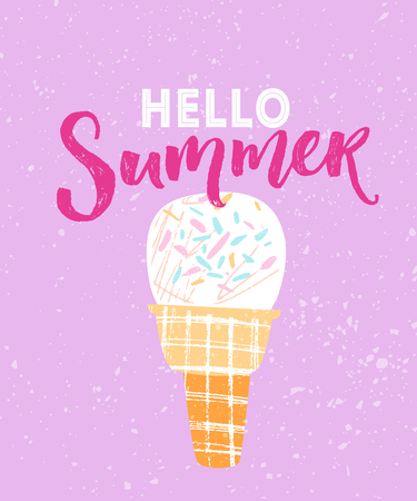 Hello summer text with hand drawn illustration of white icecream in waffle cone at pink background Illustration