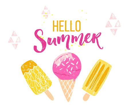 Hello summer text with brush calligraphy and three ice creams. Season greeting banner for social media and posters