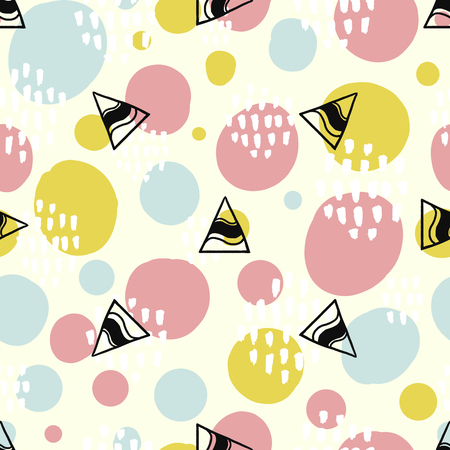 Pop background with simple geometry shapes, circles and triangles. Pink, green and blue colors.