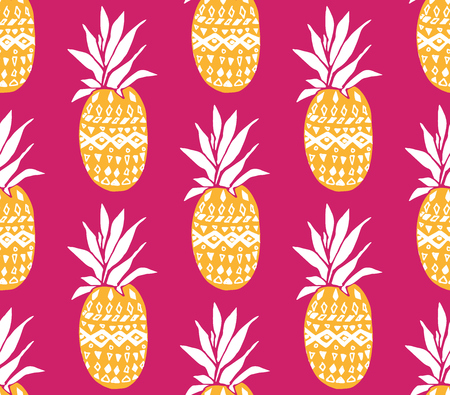 Pineapple background with hand drawn yellow fruits at pink background. Seamless vector pattern Ilustração