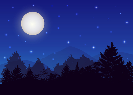 Vector night landscape with spruce forest, strarry sky and full moon.