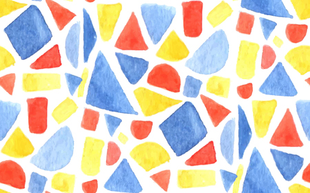 Vector watercolor mosaic pattern. Seamless background with painted geometry shapes, triangles and squares. Blue, red and orange colors. Illustration
