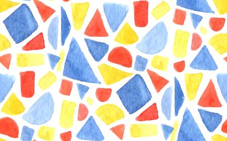 Vektor Aquarell Mosaikmuster. Nahtloser Hintergrund mit gemalten Geometrieformen, -dreiecken und -quadraten. Blaue, rote und orange Farben. Standard-Bild - 83682691