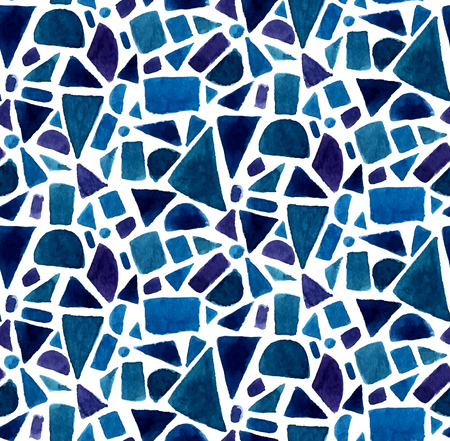 Blue geometry pattern with watercolor painted mosaic shapes. Vector seamless background