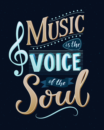 Music is the voice of the soul. Inspirational quote typography, vintage style saying at blue background. Dancing school wall art poster. Çizim