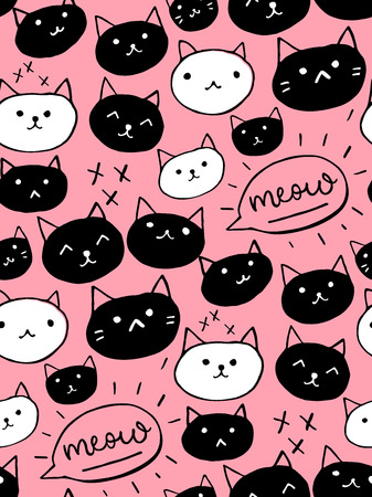 Cute cats seamless background.