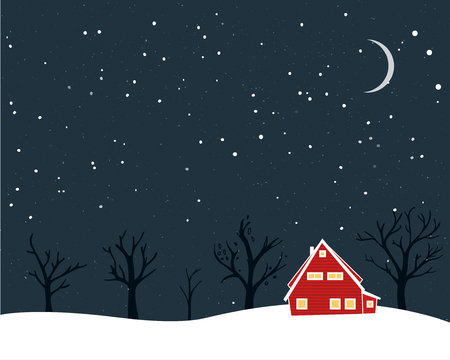 Winter scenery with tiny red house naked trees and moon. Christmas card design.