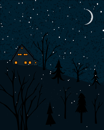 Winter landscape with small house at the forest. Night scene with falling snow and lonely trees.