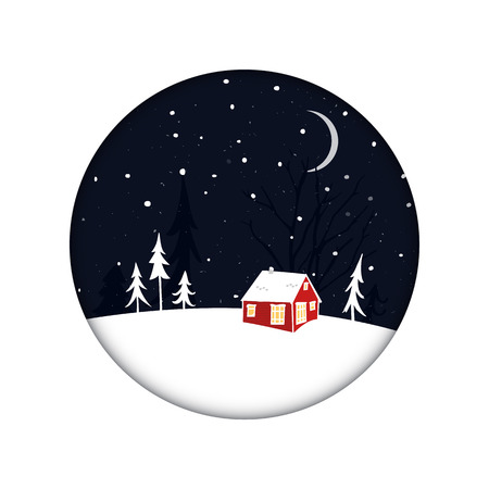 Tiny red house at night scenery with snow and trees silhouettes. Christmas card with winter landscape in circle frame. Çizim