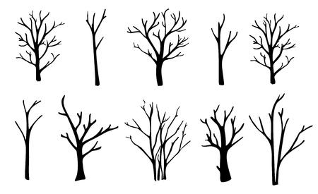 Silhouettes d & # 39 ; arbres nues fixés . main levée isolé Banque d'images - 86617450