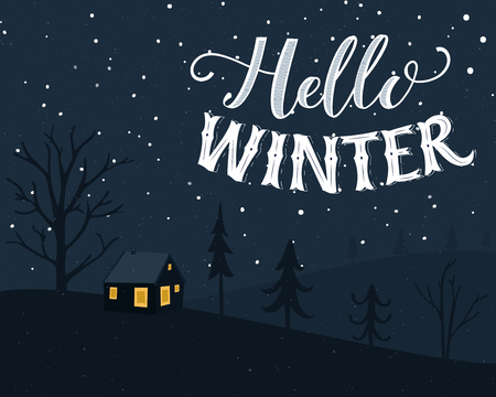 Winter landscape with small house in the forest. Classic postcard design with hand lettering text Hello Winter in vintage style.