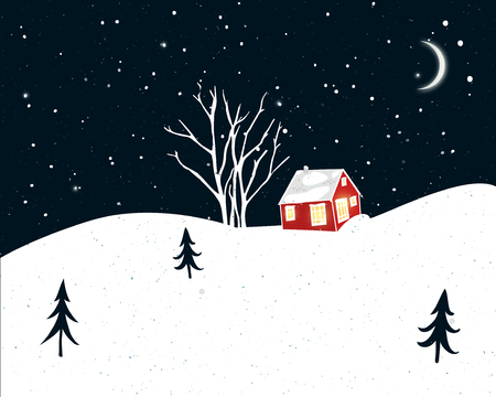 Night winter scene with small red house, trees silhouettes and falling snow. Christmas card design