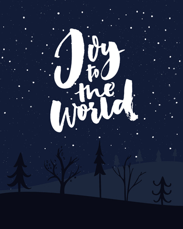 Joy to the world. Christmas card with night sky with falling snow and typography