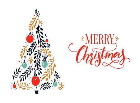 赤書道キャプションと手描きのトウヒの木とメリー クリスマス カード デザイン。
