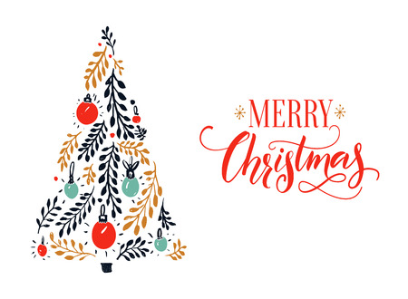 Merry Christmas card design with red calligraphy caption and hand drawn spruce tree. Illustration