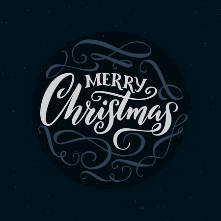 Merry Christmas calligraphy words with swashes. Ornate typography for cards Illustration