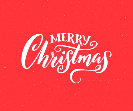 Merry Christmas. Handmade lettering for greeting card, vintage style. White calligraphy on red background Illustration