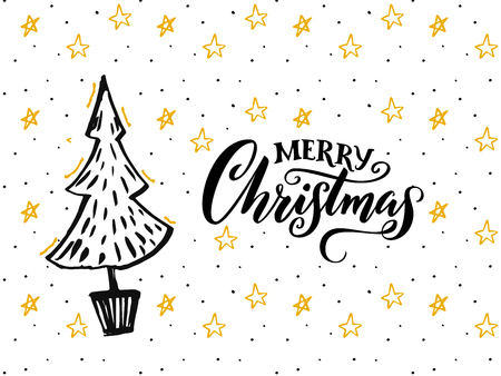 Merry Christmas card design with hand drawn tree and calligraphy caption. Illustration