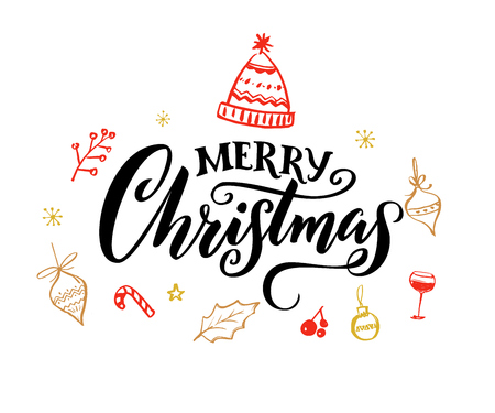 Elegant Merry Christmas text with calligraphy swashes.