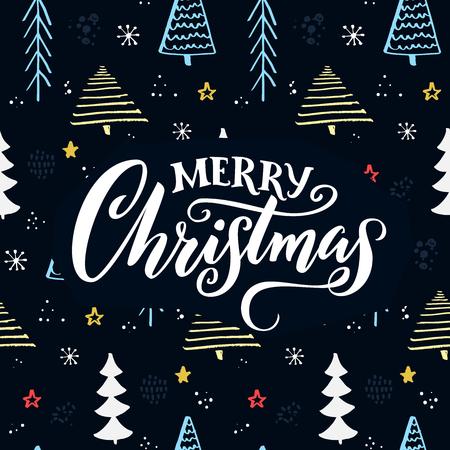 Merry Christmas text on hand drawn Christmas tree pattern. Illustration