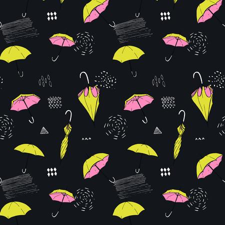 오픈 하 고 닫힌 된 우산과 원활한 배경입니다. 가 패턴입니다. 일러스트