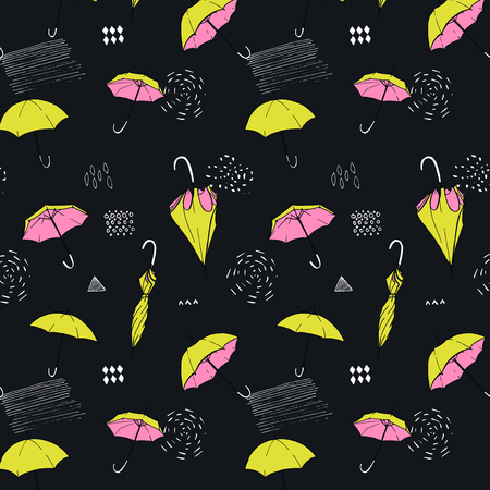 Seamless background with open and closed umbrellas. Autumn pattern.