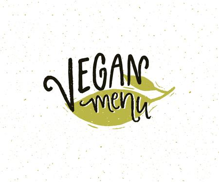 Vegan menu sign for cafe menu. Handmade lettering sticker design with green leaf