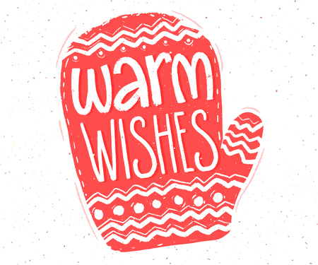 Warm wishes. Hand lettering in red mitten shape for Christmas cards and tags.