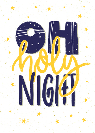 Oh holy night. Hand lettering Christmas poster or card design. 版權商用圖片 - 88419565