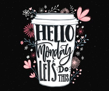 Hallo Montag, lass uns diese Illustration machen. Standard-Bild - 88323583