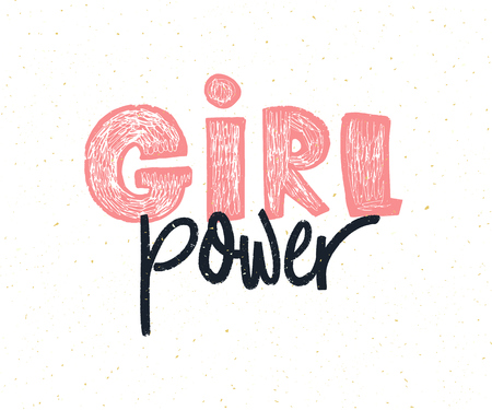 Girl power hand lettering design. Illustration