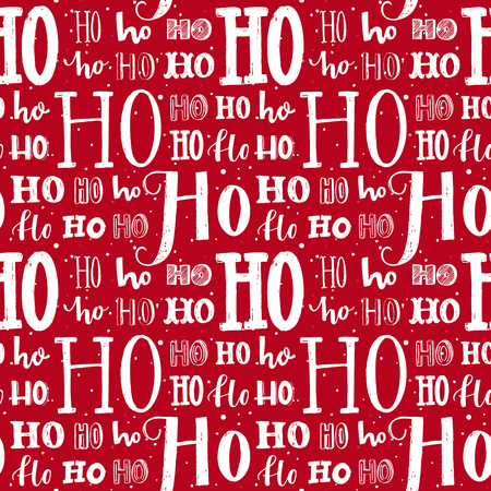 Hohoho pattern, Santa Claus laugh. Seamless background for Christmas design. Vector red texture with white handwritten words ho. Wrapping paper for gifts and presents. Foto de archivo