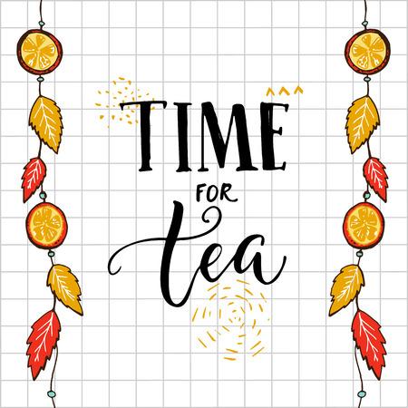 茶手レタリング、ぶら下げ秋葉、オレンジの四角形の背景の引用のための時間。