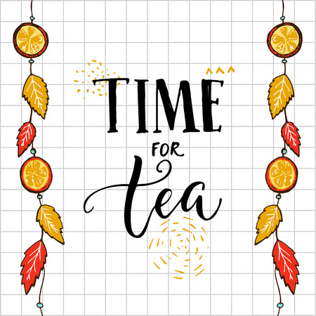 Time for tea hand lettering quote on squared background with hanging autumn leaves and oranges. Reklamní fotografie