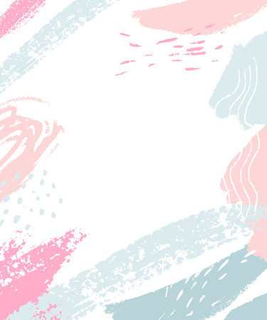 White background with pastel pink and blue abstract stains and brush strokes. Vertical frame with blank space for text. Vettoriali
