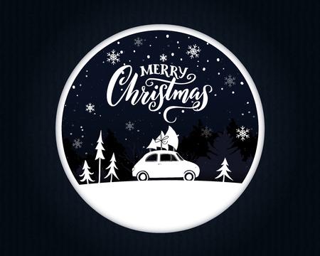 carte de noël papercut avec une voiture vintage portant une épinette sur le dessus. joyeux noël . scène de motivation sur la scène